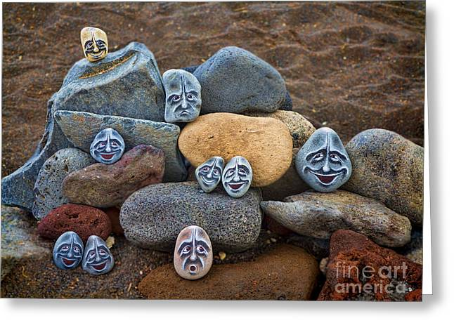 Rock Face Greeting Cards - Rocky Faces in the Sand Greeting Card by David Smith