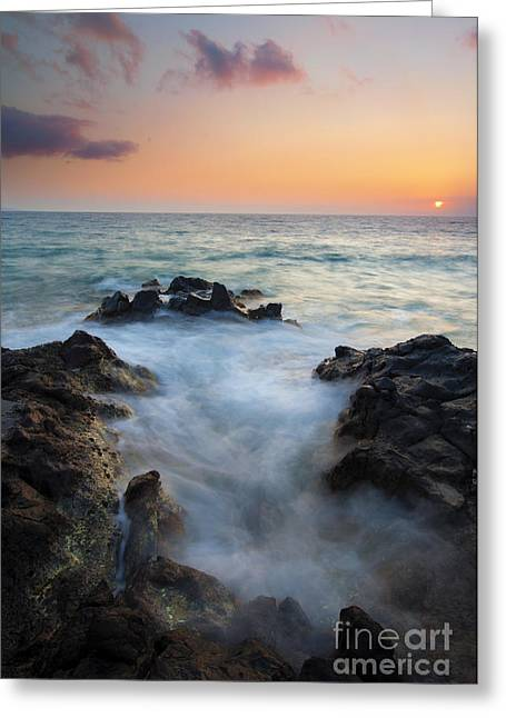 Lava Rock Greeting Cards - Rocky Inlet Sunset Greeting Card by Mike  Dawson