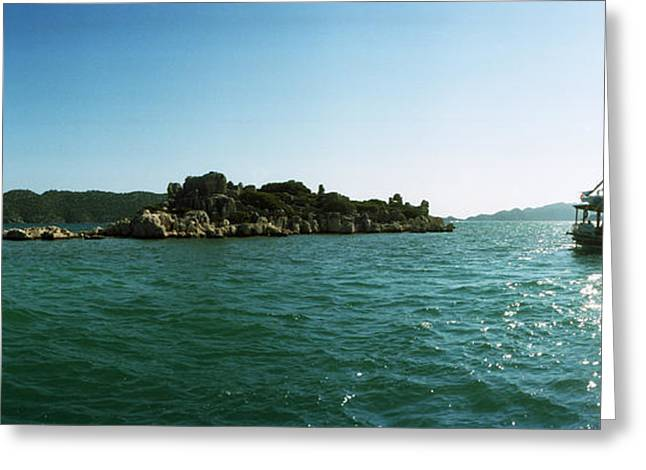 Sunken Greeting Cards - Rocky Island And Boat Greeting Card by Panoramic Images