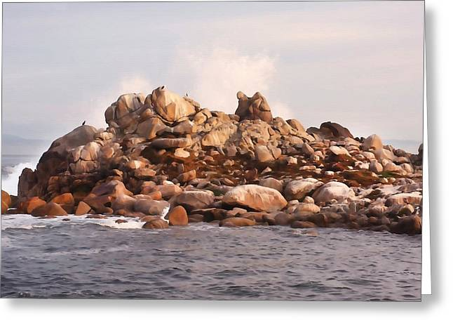 Pacific Grove Beach Greeting Cards - Rocky Island Greeting Card by Art Block Collections