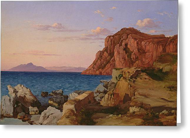 Ocean Shore Greeting Cards - Rocky Landscape, 19th Century Greeting Card by Antal Ligeti