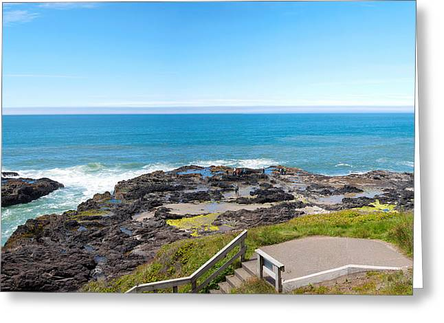 Ocean Photography Greeting Cards - Rocky Lava Shoreline At Cape Perpetua Greeting Card by Panoramic Images