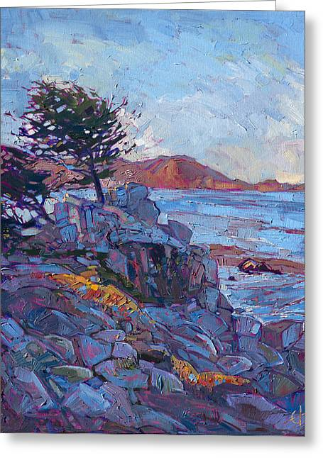 Ocean Landscape Greeting Cards - Rocky Light Greeting Card by Erin Hanson