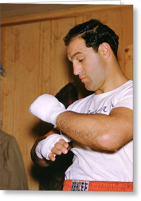 Marciano Greeting Cards - Rocky Marciano Getting Ready Greeting Card by Retro Images Archive