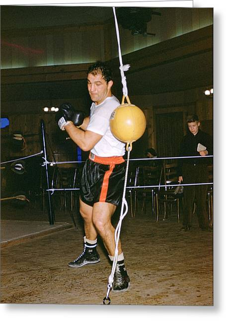 Sports Photography Greeting Cards - Rocky Marciano Training Hard Greeting Card by Retro Images Archive