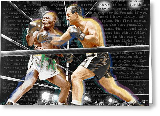 Acrylic Art Greeting Cards - Rocky Marciano V Jersey Joe Walcott Quotes Greeting Card by Tony Rubino