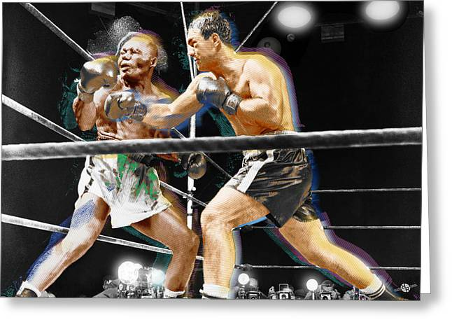 Gym Mixed Media Greeting Cards - Rocky Marciano V Jersey Joe Walcott Greeting Card by Tony Rubino