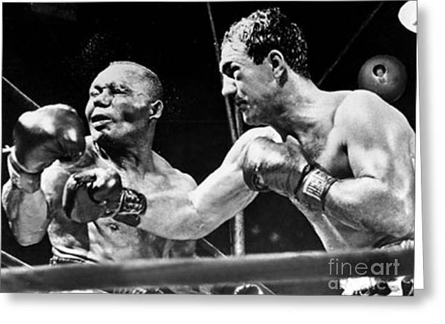 Marciano Greeting Cards - Rocky Marciano vs Jersey Joe Walcott Greeting Card by Anthony Morretta
