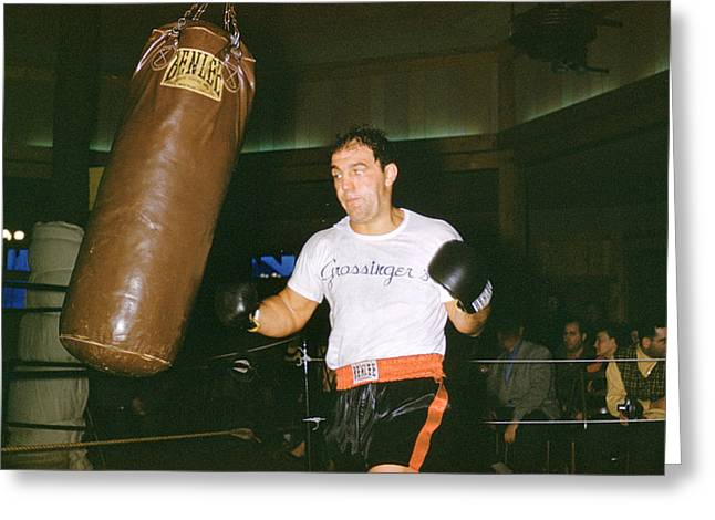 Marciano Greeting Cards - Rocky Marciano Working Heavy Bag Greeting Card by Retro Images Archive