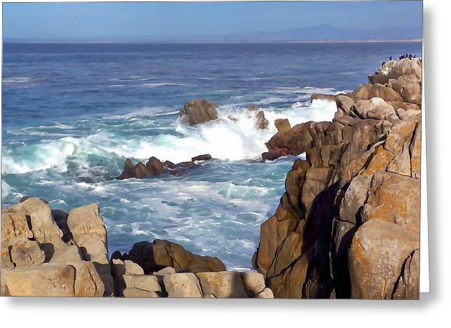 Pacific Grove Beach Greeting Cards - Rocky Monterey Coast Greeting Card by Art Block Collections