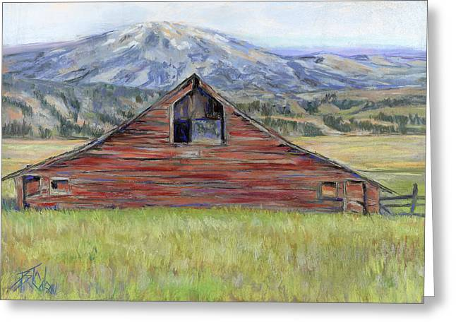 Red Buildings Pastels Greeting Cards - Rocky Mountain Barn Greeting Card by Billie Colson