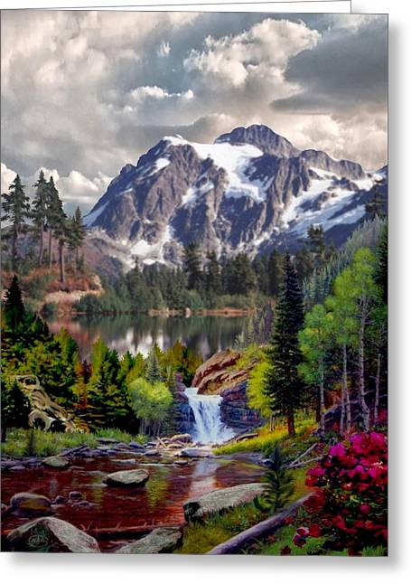 Kinkade Greeting Cards - Rocky Mountain Cascade Greeting Card by Ronald Chambers