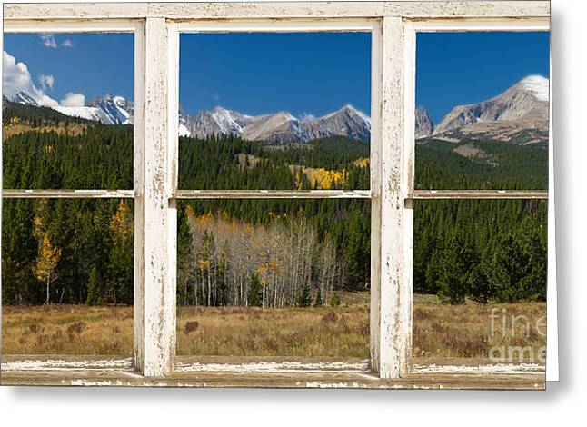 Rocky Mountain Continental Divide Rustic Window View Greeting Card by James BO  Insogna
