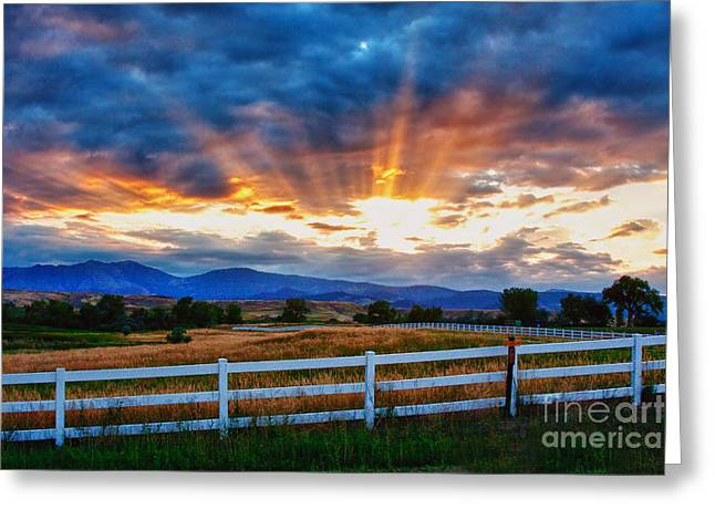 Amazing Sunset Greeting Cards - Rocky Mountain Country Beams Of Sunlight Greeting Card by James BO  Insogna