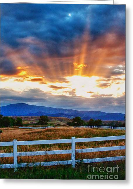 Amazing Sunset Greeting Cards - Rocky Mountain Country Beams Of Sunlight Portrait Greeting Card by James BO  Insogna