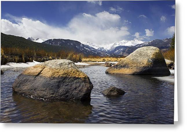 Reflections Of Sky In Water Greeting Cards - Rocky Mountain Creek Greeting Card by Bryant Coffey