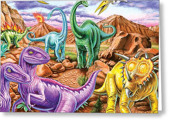 Dinosaurs Greeting Cards - Rocky Mountain Dinos Greeting Card by Mark Gregory