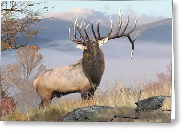 Elk Greeting Cards - Rocky Mountain Elk Art - The Monarch Greeting Card by Dale Kunkel Art