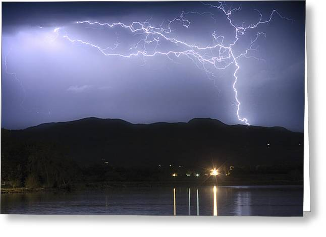 Lightning Strike Greeting Cards - Rocky Mountain Foothills Lightning Extravaganza Greeting Card by James BO  Insogna