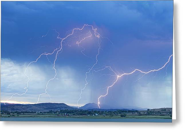 Storm Prints Photographs Greeting Cards - Rocky Mountain Foothills Lightning Strikes Greeting Card by James BO  Insogna
