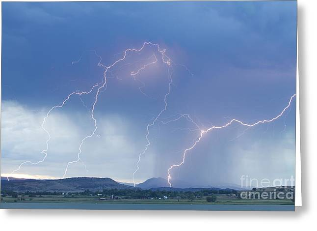 Images Lightning Greeting Cards - Rocky Mountain Front Range Foothills Lightning Strikes Greeting Card by James BO  Insogna