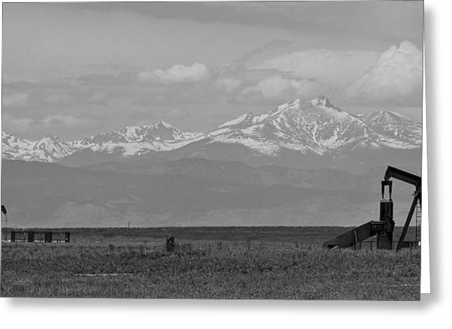 Colorado Front Range Greeting Cards - Rocky Mountain Front Range Oil Panorama BW Greeting Card by James BO  Insogna