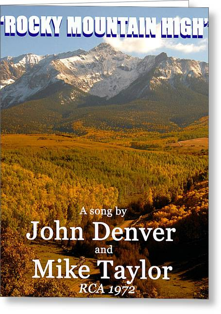 Rocky Mountain Posters Greeting Cards - Rocky Mountain High 1972 Greeting Card by David Lee Thompson