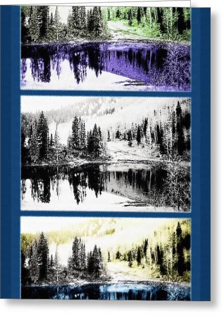 Duo Tone Greeting Cards - Rocky Mountain High Triptych Greeting Card by Steve Ohlsen
