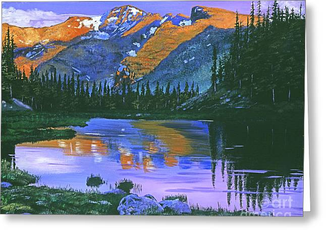 Fir Trees Paintings Greeting Cards - Rocky Mountain Lake Greeting Card by David Lloyd Glover