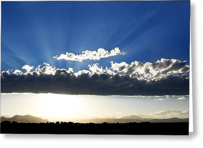 Light Show Greeting Cards - Rocky Mountain Light Show Greeting Card by Marilyn Hunt