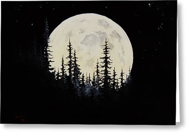 Bob Ross Paintings Greeting Cards - Rocky Mountain Moon Greeting Card by C Steele
