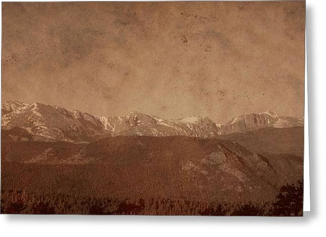 National Park Mixed Media Greeting Cards - Rocky Mountain National Park In Sepia Greeting Card by Dan Sproul