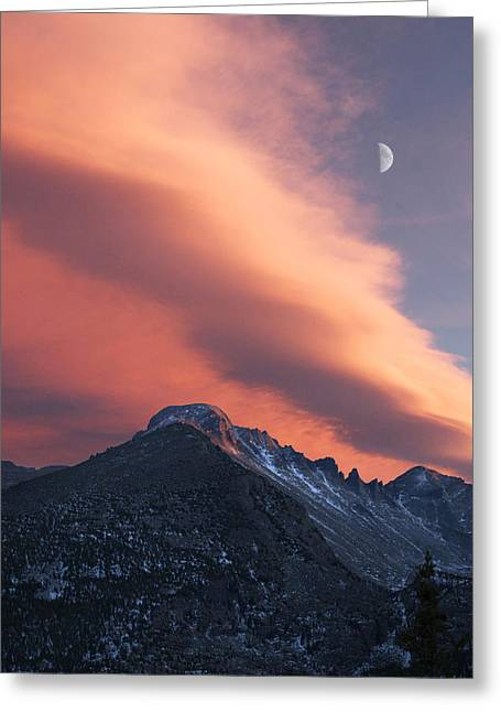 Rocky Mountain National Park Sunset Over Longs Greeting Card by Aaron Spong