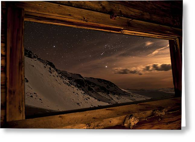Cabin Window Greeting Cards - Rocky Mountain Nightscape Picture Window Greeting Card by Mike Berenson