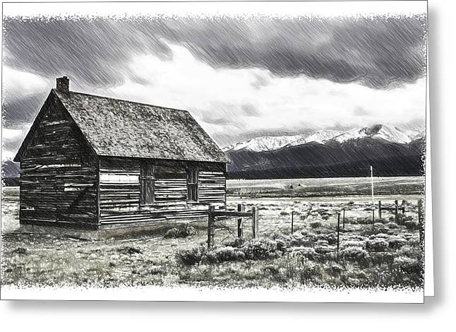 Old Cabins Drawings Greeting Cards - Rocky Mountain Past Greeting Card by John Haldane
