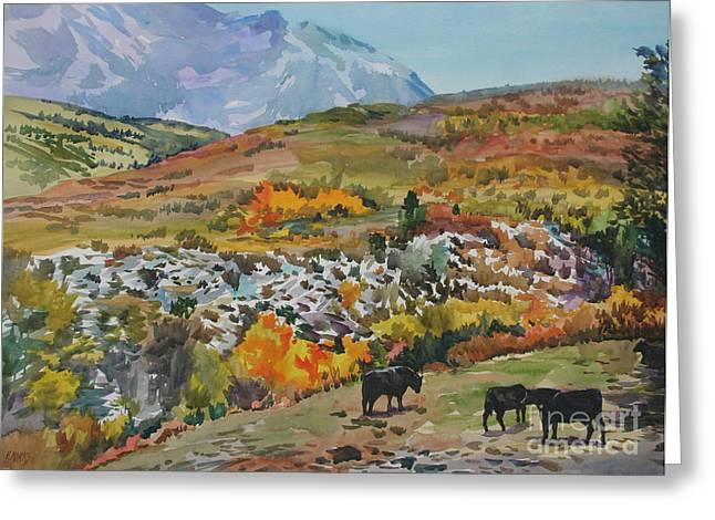 Grazing Snow Paintings Greeting Cards - Rocky Mountain Pastoral Greeting Card by Bernard Marks