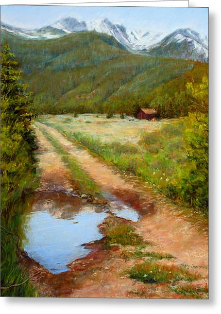 Rural Landscapes Pastels Greeting Cards - Rocky Mountain Reflections Greeting Card by Mary Giacomini