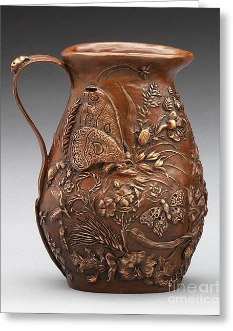 Butterflies Reliefs Greeting Cards - Rocky Mountain Summer Bronze Pitcher - French Brown Patina Greeting Card by Dawn Senior-Trask