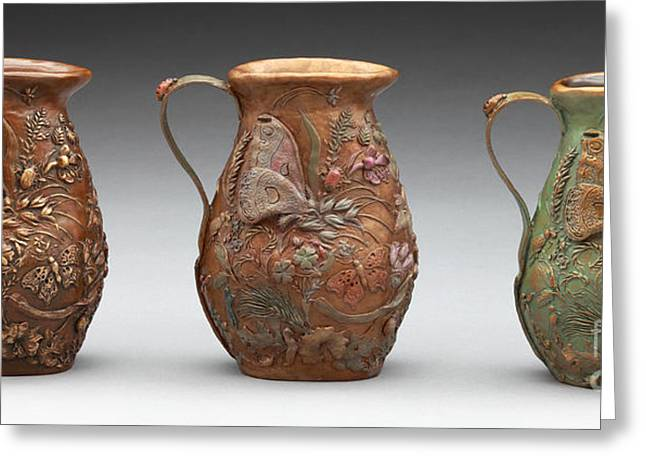 Grass Reliefs Greeting Cards - Rocky Mountain Summer - Bronze Pitcher in three patinas Greeting Card by Dawn Senior-Trask