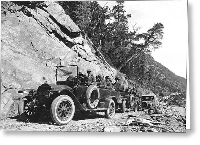 Rocky Mountain Touring Cars Greeting Card by Underwood Archives