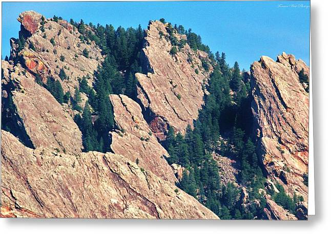 University Of Boulder Colorado Greeting Cards - Rocky Mountain Towers Greeting Card by David Broome