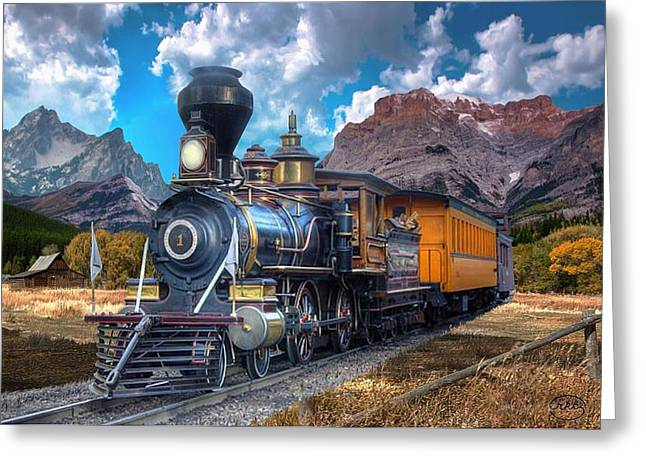 Passenger Train On Bridge. Greeting Cards - Rocky Mountain Train Greeting Card by Ronald Chambers