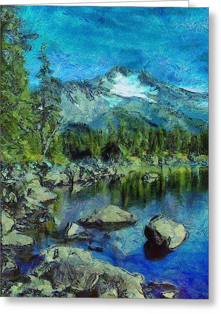 Van Gogh Style Photographs Greeting Cards - Rocky Mountain Views Greeting Card by Mario Carini