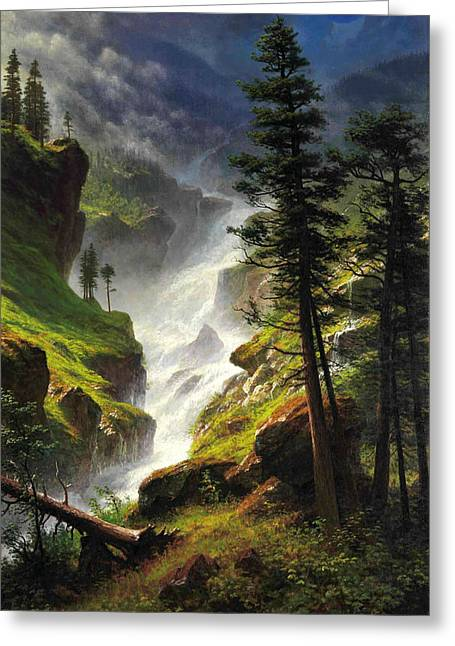 Bierstadt Greeting Cards - Rocky Mountain Waterfall Greeting Card by Albert Bierstadt
