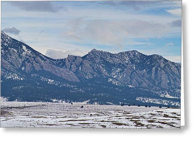 Rocky Mountains Flatirons And Longs Peak Panorama Boulder Greeting Card by James BO  Insogna