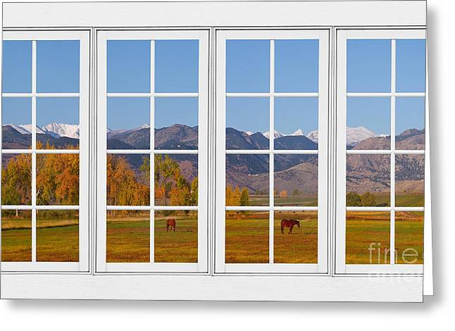 Room With A View Greeting Cards - Rocky Mountains Horses White Window Frame View Greeting Card by James BO  Insogna