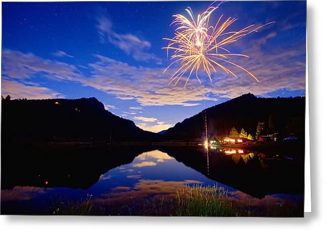Fireworks Prints Greeting Cards - Rocky Mountains Private Fireworks Show Greeting Card by James BO  Insogna