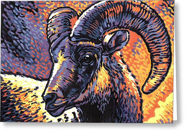 Linocut Paintings Greeting Cards - Rocky Mtn. Bighorn Linocut Print Greeting Card by Manny Mellor