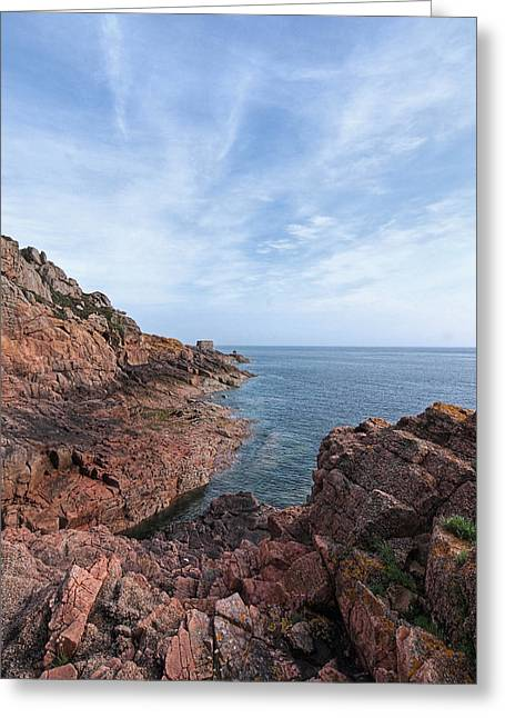 Red Granite Greeting Cards - Rocky Ocean Inlet - Jersey Greeting Card by Gill Billington