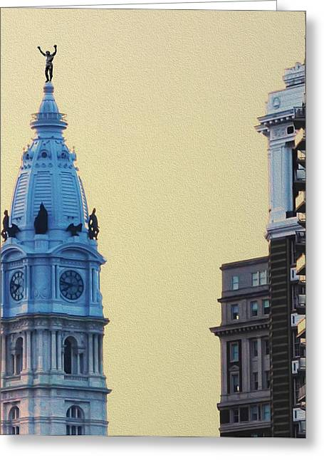 Stallone Digital Art Greeting Cards - Rocky on top of City Hall Greeting Card by Bill Cannon